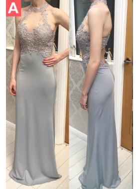 Beading Halter Column/Sheath Stretch Satin Prom Dresses
