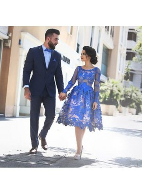 Princess/A-Line Round Knee-Length Long Sleeves Royal Blue Homecoming/Prom Dresses