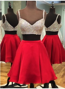 Two Piece Spaghetti Straps Above-Knee Red Homecoming Dress with Sequins Beading