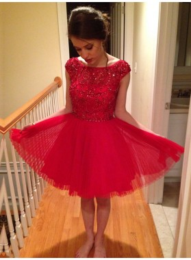A-Line Bateau Cap Sleeves Knee-Length Red Homecoming Dress 2021 with Beading Lace