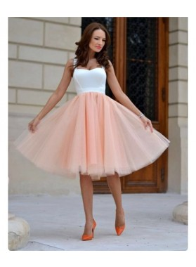 A-Line Straps Sleeveless Knee-Length Peach Homecoming Dress 2020 with Pleats