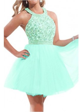 A-line Open Back Jewel Beading Mint Short Homecoming Dress
