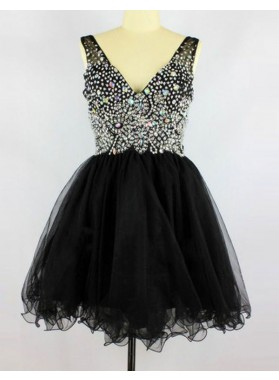 Princess/A-Line Deep V-Neck Sleeveless Short Black Beading Prom Dresses
