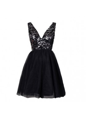Deep V-Neck Backless Sequins  Black Short Prom Dresses