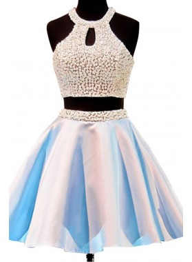 Princess/A-Line Jewel Open Back Short Prom Dresses with Beading Keyhole
