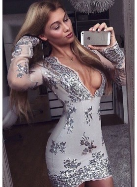 Sheath Deep V-Neck Long Sleeves Short Gray Homecoming/Prom Dresses with Appliques