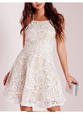 A-Line Halter Sleeveless Criss-Cross Straps Short White Lace Homecoming Dress
