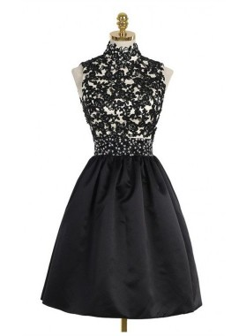A-Line High Neck Open Back Above-Knee Black Homecoming Dress 2020 with Lace Sequins