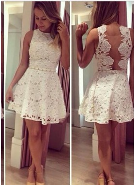 A-Line Bateau Short Illusion Back White Lace Homecoming Dress with Beading