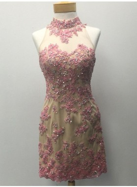 Sheath Pink High Neck Open Back Appliques Beading Prom Dresses
