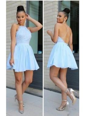 Princess/A-Line Jewel Sleeveless Backless Light Blue Lace Short Prom Dresses