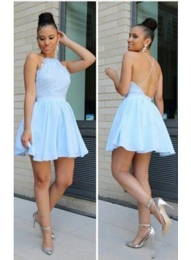 A-Line Jewel Sleeveless Backless Light Blue Lace Short Homecoming Dress