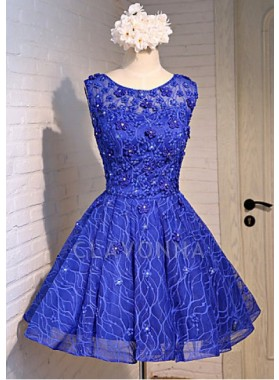 Princess/A-Line Crew Neck Royal Blue Lace Homecoming/Prom Dresses