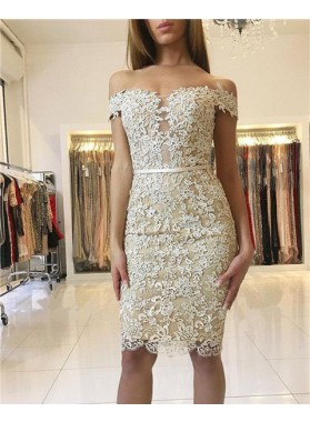 Sheath Off-the-Shoulder Knee-Length Light Champagne Lace Homecoming Dress 2020