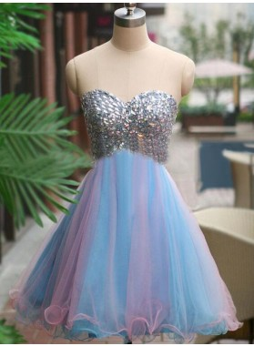 A-Line Sweetheart Multi Color Tulle Short Homecoming Dress 2020 with Beading