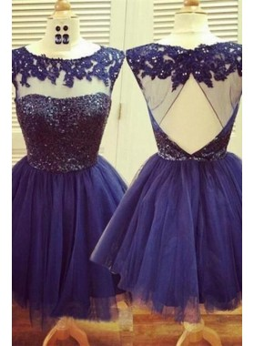 A-Line Jewel Open Back Navy Blue Tulle Short Homecoming Dress 2020 with Lace Beading