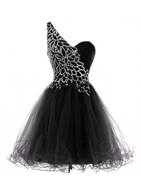 Princess/A-Line One-Shoulder Black Tulle Short Homecoming/Prom Dresses with Sequins