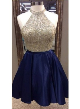 A-Line Jewel Navy Blue Satin Short Homecoming Dress 2020 with Beading