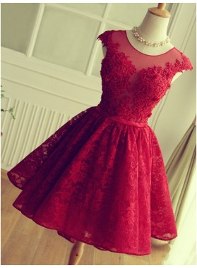 A-Line Jewel Cap Sleeves Red Lace Short Homecoming Dress 2019 with Beading