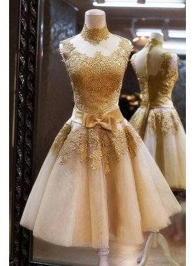 A-Line High Neck Knee-Length Champagne Short Homecoming Dress 2020 with Appliques