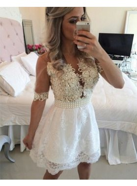 Princess/A-Line V-Neck Half Sleeves White Lace Short Homecoming/Prom Dresses with Appliques Pearls
