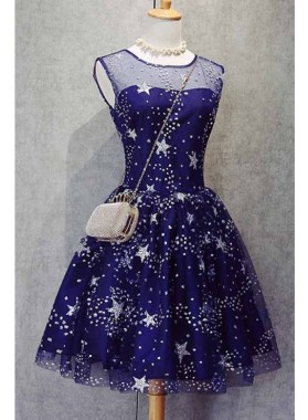 Princess/A-Line Scoop Royal Blue Tulle Short Homecoming/Prom Dresses with Appliques