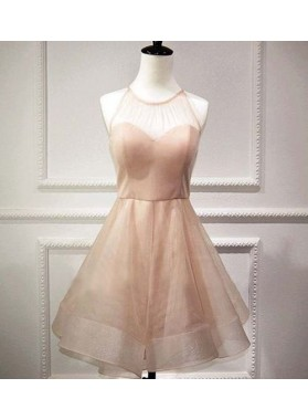 Princess/A-Line Jewel Pearl Pink Organza Bowknot Short Homecoming/Prom Dresses with Open Back