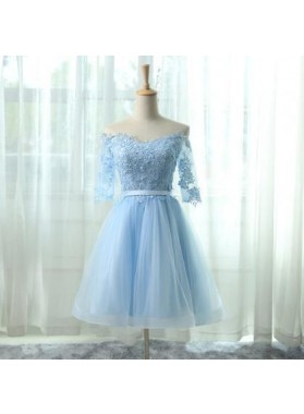 A-Line Off the Shoulder Half Sleeves Light Blue Tulle Homecoming Dress 2019 with Appliques