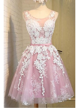 A-Line Scoop Lace-Up Pink Tulle Short Homecoming Dress 2019 with Lace