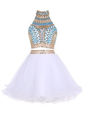 Two Piece High Neck White Tulle Short Homecoming/Prom Dresses with Beading Rhinestone
