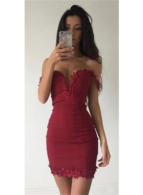 Sheath Off-the-Shoulder Short Red Stretch Satin Homecoming Dress 2020 with Appliques