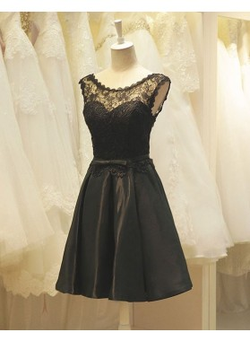 Princess/A-Line Crew Neck Black Satin Homecoming/Prom Dresses with Lace
