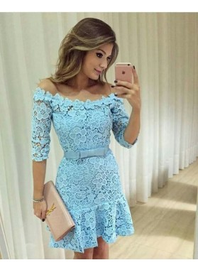 Sheath Off-the-Shoulder Above-Knee Blue Lace Homecoming Dress 2021 with Sashes