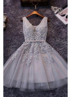 A-Line V-Neck Appliques Gray Tulle Homecoming Dress 2019