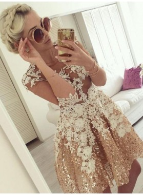 A-Line Jewel Half Sleeves Champagne Appliques Homecoming Dress 2021