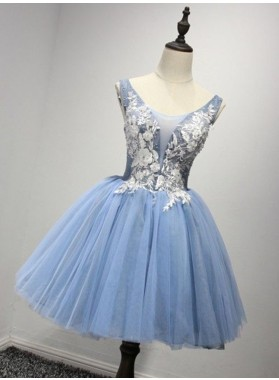 Princess/A-Line Crew Neck Blue Appliques Homecoming/Prom Dresses