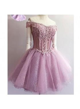 Princess/A-Line Off-the-Shoulder Appliques Short Lavender Homecoming/Prom Dresses