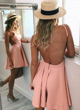 Princess/A-Line Crew Neck Backless Pink Satin Homecoming/Prom Dresses