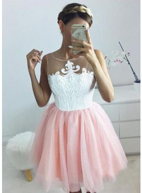 Princess/A-Line Jewel Appliques Blush Tulle Homecoming/Prom Dresses