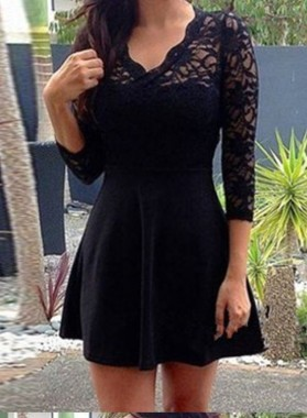 A-Line V-Neck 3/4 Sleeves Open Back Little Black Dress with Lace