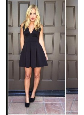 A-Line V-Neck V-Back Satin Little Black Dress