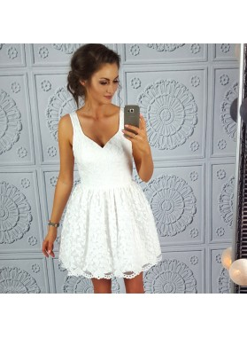 A-Line Straps Short White Lace Homecoming Dress 2020