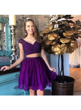 Two Piece V-Neck Beading Purple Homecoming Dress 2019 with Lace