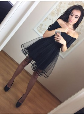 Princess/A-Line Off-the-Shoulder Short Sleeves Little Black Dresses