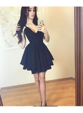 Princess/A-Line V-Neck Tired Black Homecoming/Prom Dresses