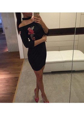 Bodycon Off-the-Shoulder 3/4 Sleeves Appliques Little Black Dresses