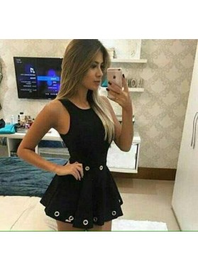 A-Line Scoop Eyelets Satin Little Black Dress