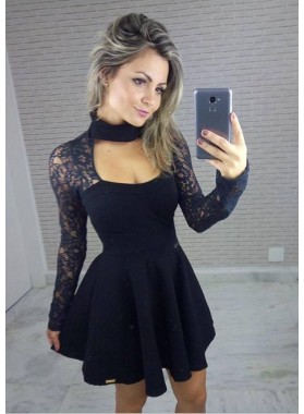 Princess/A-Line High Neck Lace Long Sleeves Little Black Dresses