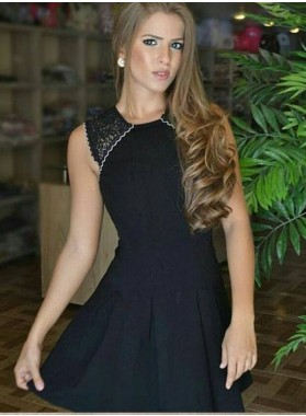 A-Line Jewel Lace Short Black Homecoming Dress 2020