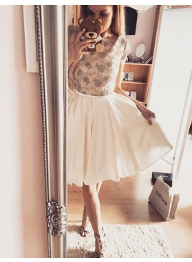 A-Line Bateau Cap Sleeves Ivory Homecoming Dress 2021 with Lace